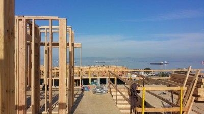 Wall panels going up in South San Francisco at Hunter's Point...Shipyard Blocks 56 & 57