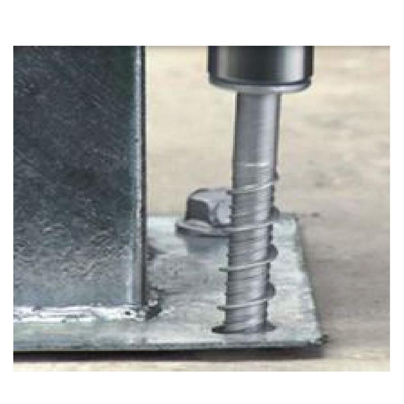 Typical screw anchor concrete application